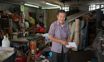 Mr Yong Huat opened his shop in Tiong Bahru in 1968. A nice friendly upholsterer in old Singapore.