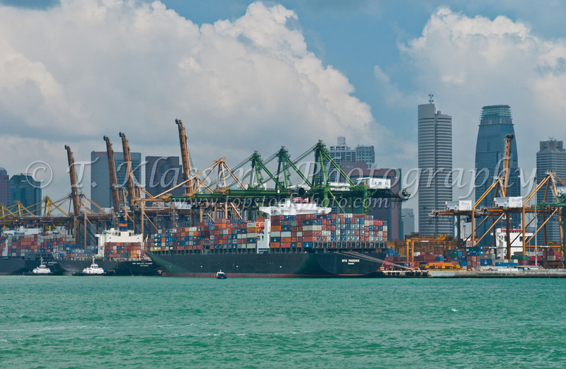 Views of the Singapore container port.