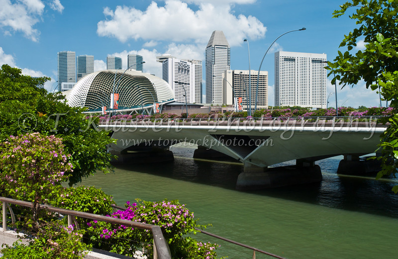 The Singapore River, and Esplanade Bridge, East Asia.