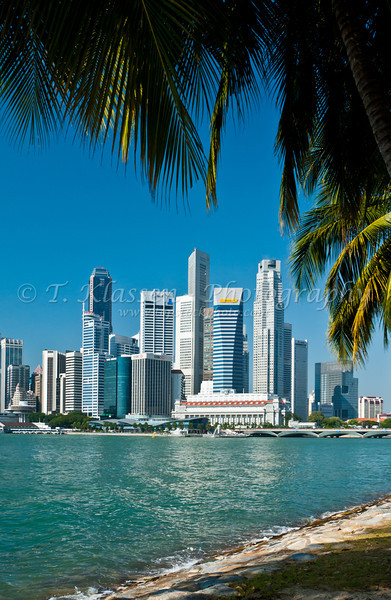 Singapore downtown skyline and harbor, East Asia.