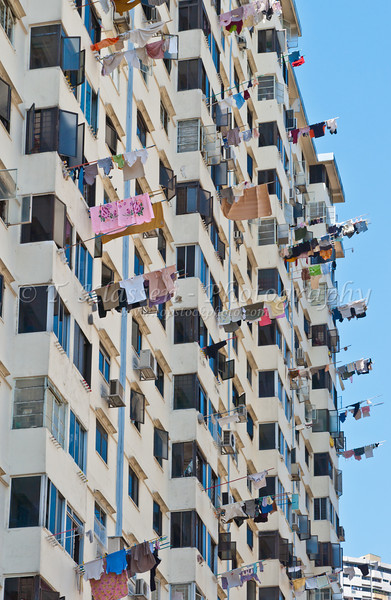Laundry poles at apartment blocks in Singapore, East Asia.