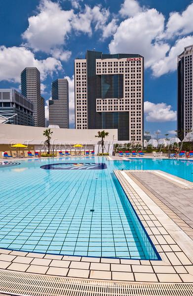 Pan Pacific Hotel pool area, Singapore, East Asia.