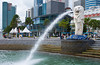 The Singapore Merlion with the downtown city skyline, East Asia.