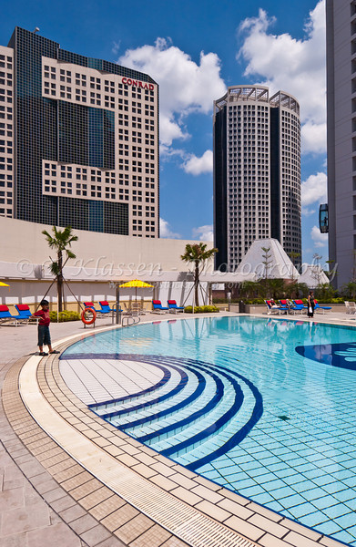 Pan Pacific Hotel pool area, Singapore, East Asia.