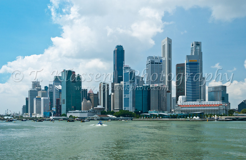 The Singapore skyline from the harbor, East Asia.
