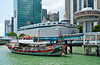 A Chinese Junk at a downtown dock in Singapore, East Asia.