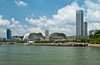 The Singapore skyline with the Durion-like buildings of the Performing Arts Center, East Asia.