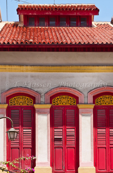 Windows and shutters in Chinatown, Singapore, East Asia.