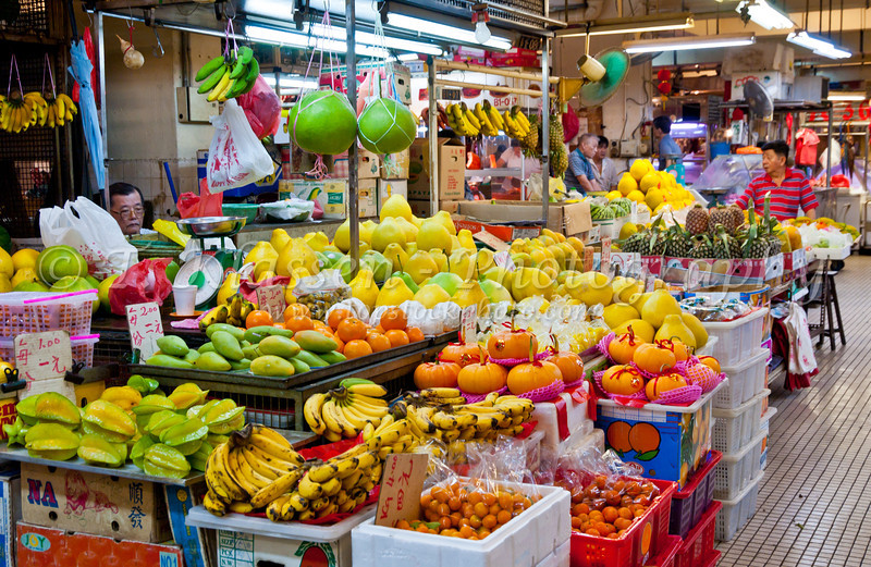 Indoor produce market and wet market in the Chinatown Complex in Singapore, East Asia.