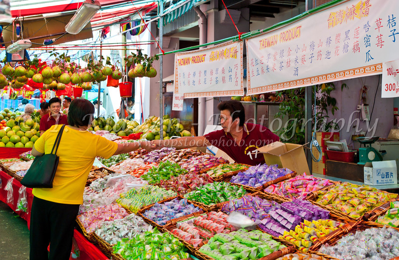 Outdoor produce market in Chinatown, Singapore, East Asia.