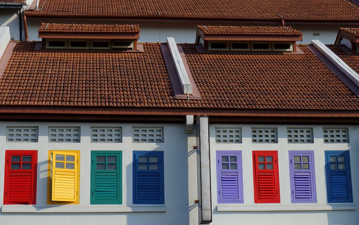 Colourful windows in Singapore.
