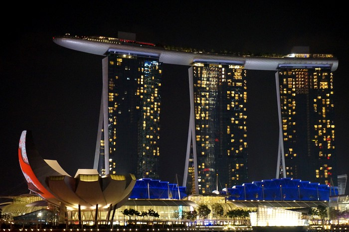 The Marina Bay Sands as seen from The Esplanade, Singapore.