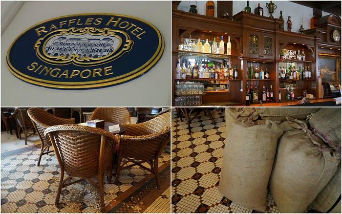 The Long Bar at the Raffles Hotel in Singapore.