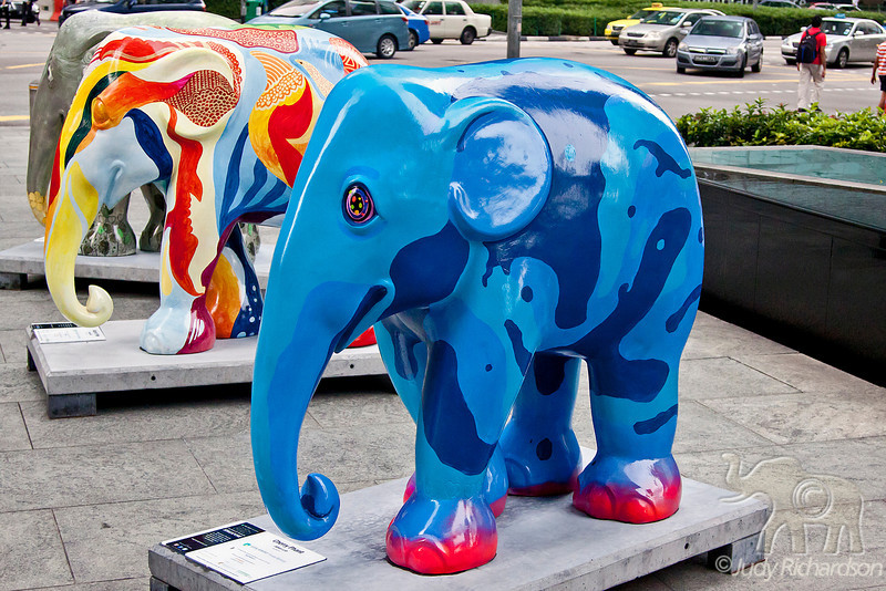 Colorful elephants adorn the streets and parks of Singapore.