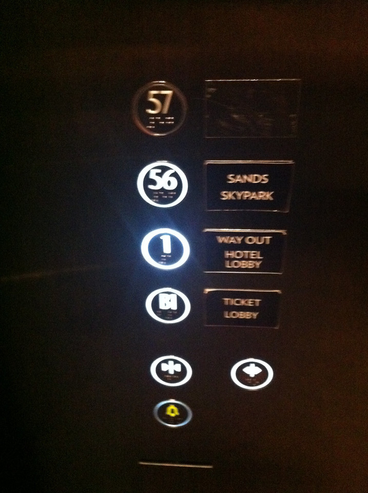 The lift to the SkyPark has two floors - 1 and 56. Nice.