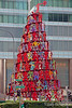 Singapore Christmas tree on a street corner in the Financial District.