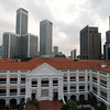 View of the Raffles Hotel from a rooftop bar