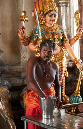 """Inside the Sri Veeramakaliamman Temple in the district of Little India,, dedicated to the Hindu goddess Kali, """"fierce embodiment of Shakti and the god Shiva's wife, Parvati"""""""