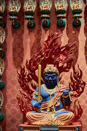 Detail inside the interior of Buddha Tooth Relic Temple and Museum in the Chinatown district of Singapore