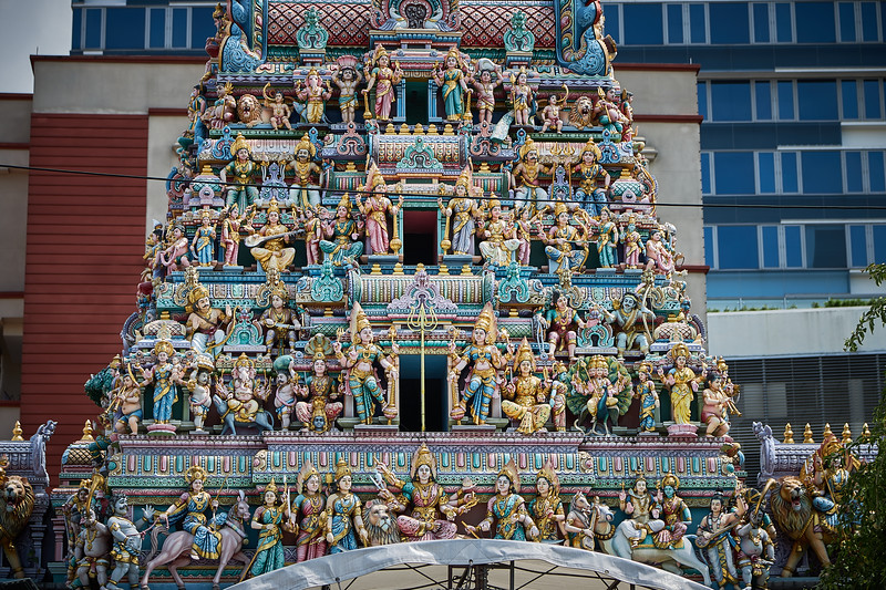 """The amazing detail of The Sri Veeramakaliamman Temple in the district of Little India, built in the Dravidian style, dedicated to the Hindu goddess Kali, """"fierce embodiment of Shakti and the god Shiva's wife, Parvati"""""""