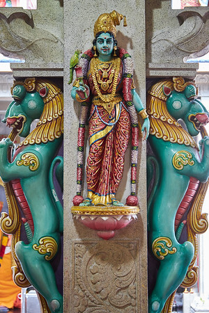 """Detail inside the Sri Veeramakaliamman Temple in the district of Little India, dedicated to the Hindu goddess Kali, """"fierce embodiment of Shakti and the god Shiva's wife, Parvati"""""""