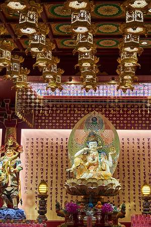 The ornate interior of Buddha Tooth Relic Temple and Museum in the Chinatown district of Singapore