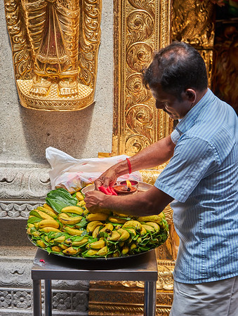 Offering being prepared inside the Sri Veeramakaliamman Temple in the district of Little India