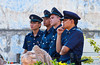 The Singapore police watching the Thaipusam Festival procession in Singapore, East Asia.