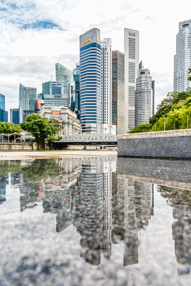 Reflection of downtown Singapore.