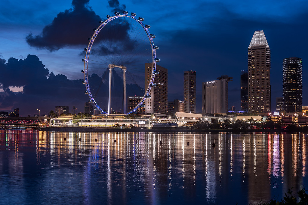 Singapore Flyer at twilight.