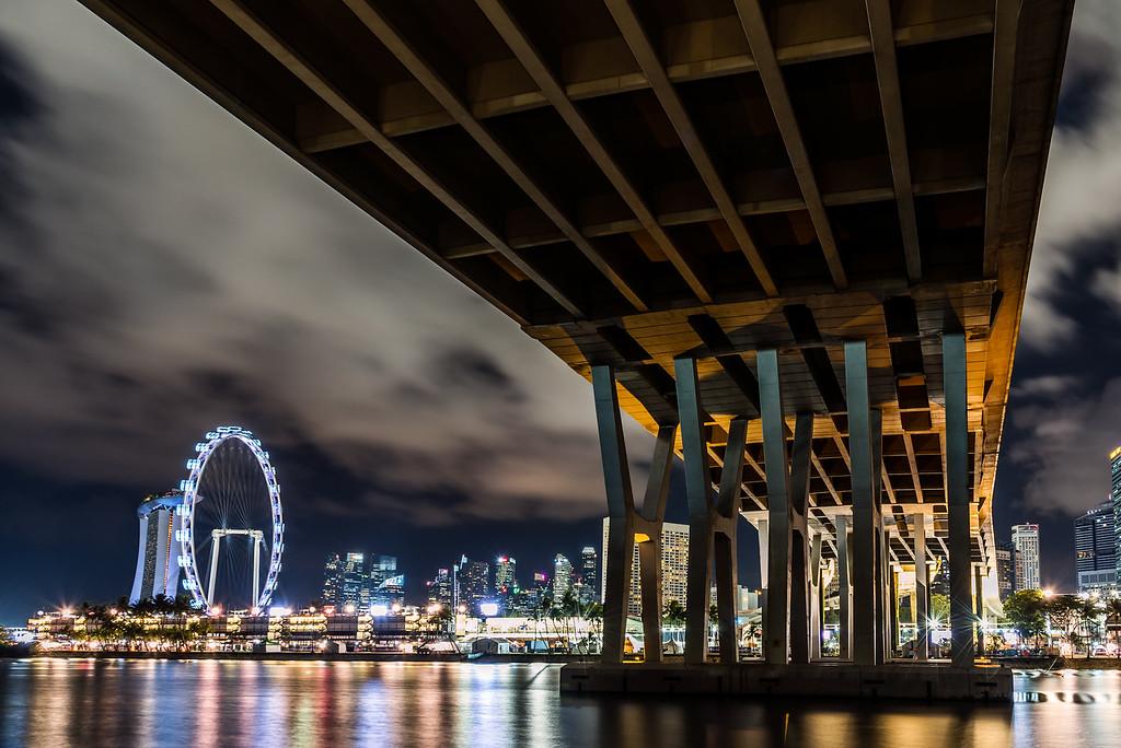 Under the Benjamin Sheares Bridge.