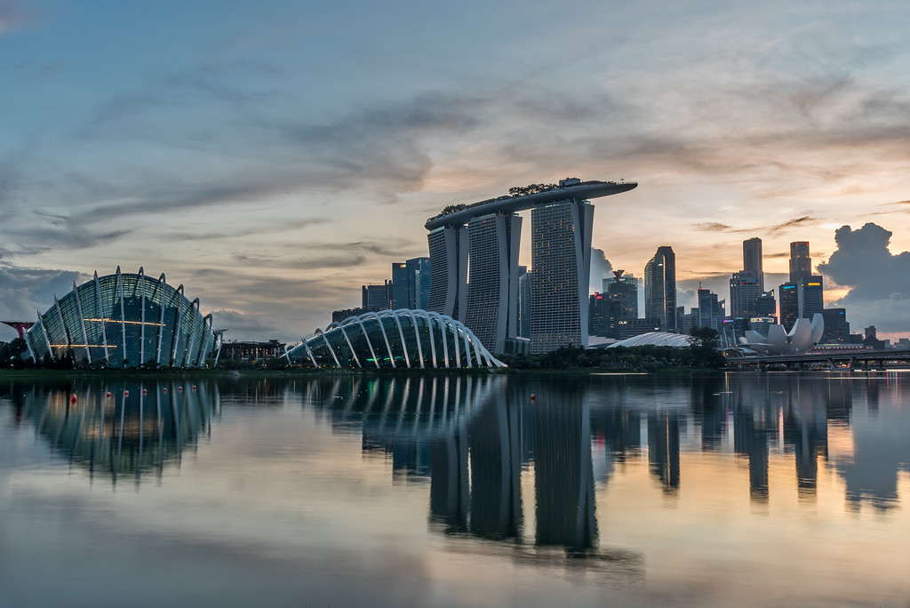 Reflection of Marina Bay skyline.