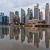 Reflection of Singapore's skyline early morning.
