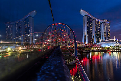 View of Marina Bay Sands from the Helix Bridge.