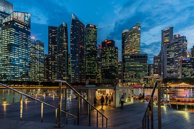 View of Singapore CBD at dusk.