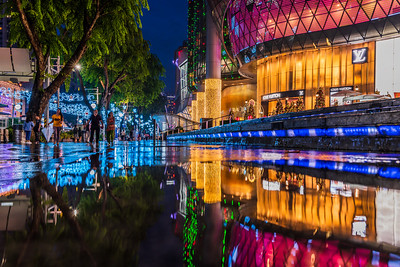 Reflection of Christmas lightings at Orchard Road.