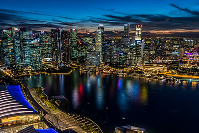 Marina Bay skyline at dusk.