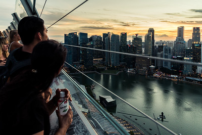 View Singapore's skyline from Marina Bay Sands Skymark.