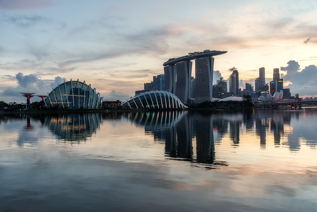 View of Marina Bay skyline and Gardens by the Bay.