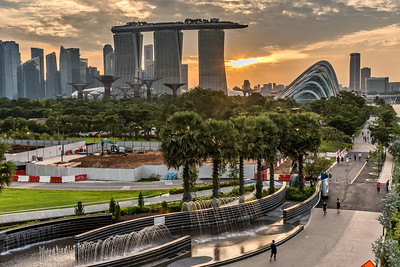 Sunset view from Marina Barrage.