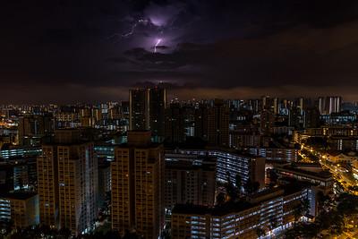 Lightning over Singapore sky.