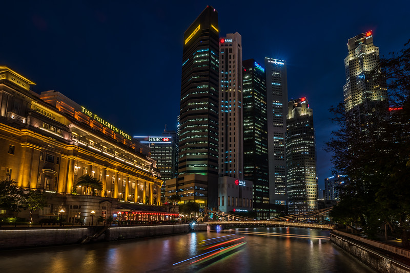 View of The Fullerton Hotel and downtown skyscrapers.
