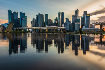 Reflection of Singapore's CBD skyscrapers.
