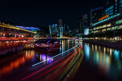 Clarke Quay at night.