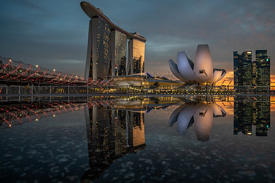 Reflection of Marina Bay Sands and ArtScience Museum.
