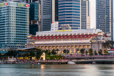 The Merlion and The Fullerton Hotel.