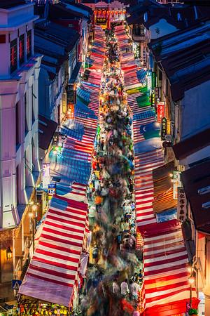 Temple Street at night.