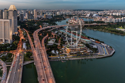 View of Singapore Flyer and National Stadium.