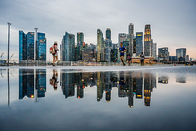 Reflection of Singapore's city skyline.