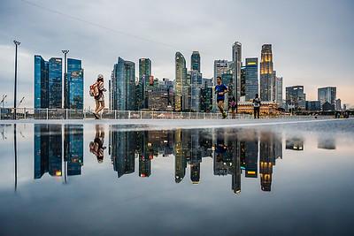 Reflection of Singapore's city skyline.